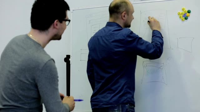 Colleagues marker paint scheme on a white board and talk about business. video