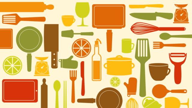 sammlung von kochen werkzeug animation. - küchenzubehör stock-videos und b-roll-filmmaterial