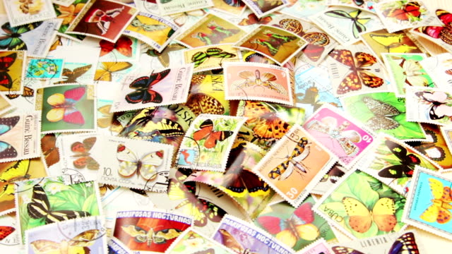 Collection of postage stamps with  various butterflies ST.PETERSBURG, RUSSIA - APRIL 01 2017:  Collection of postage stamps with  various butterflies arthropod stock videos & royalty-free footage