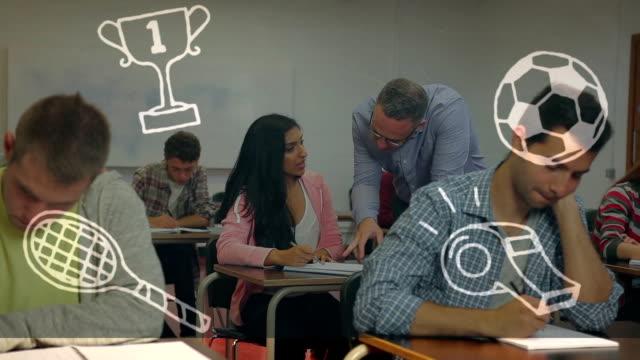 College concept icons against professor teaching female student in college