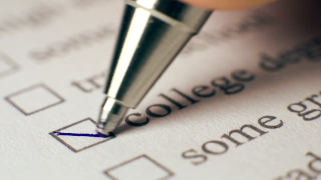 College Degree Checkbox Marking Survey video