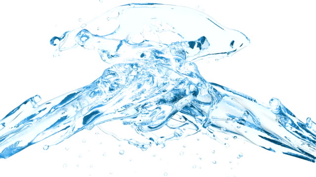 vídeos de stock e filmes b-roll de 4k. collision of two water streams on white background. slow motion. - water splash