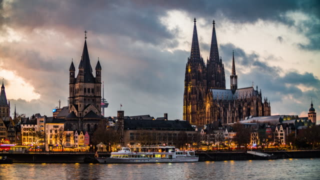Cologne Cathedral and St Martins Church at Dusk video