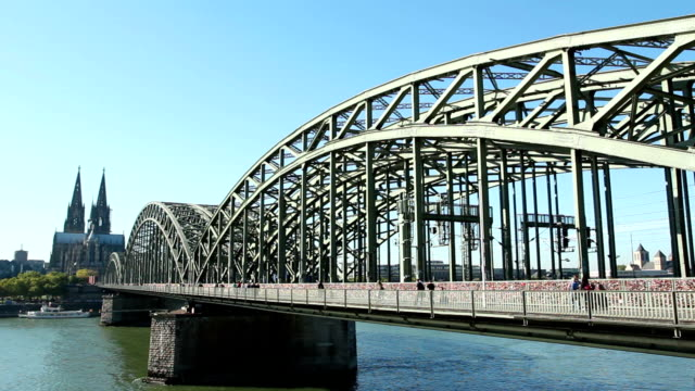 Cologne cathedral dom close to 'Hohenzollern' bridge video