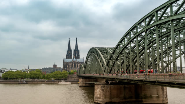 Cologne Germany time lapse 4K, city skyline timelapse at Cologne Cathedral (Cologne Dom)