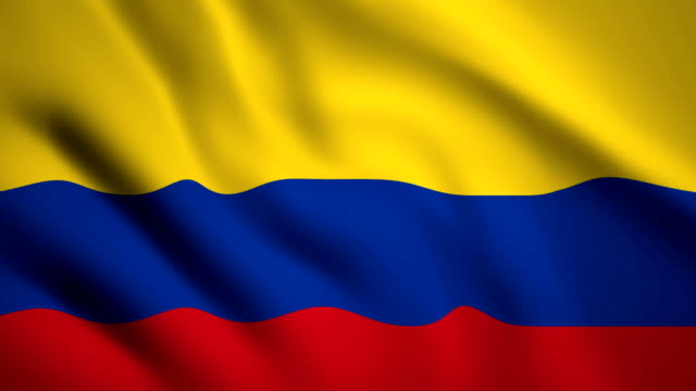 vídeos de stock e filmes b-roll de colombia flag motion video waving in wind. flag closeup 1080p hd  footage - colômbia