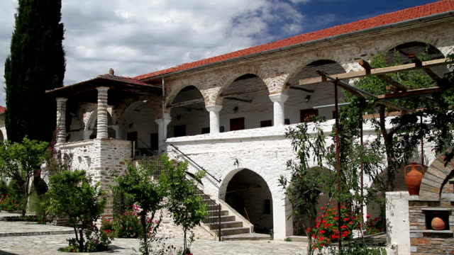 Colonnade and backyard of Greek monastery video