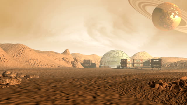 Colony on a Mars like red planet video