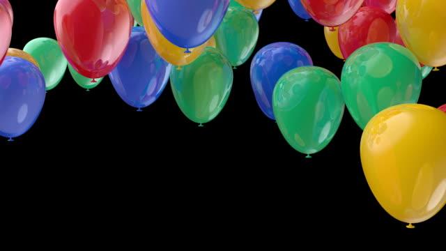 color balloon fly transition whith alpha channel - balon stok videoları ve detay görüntü çekimi