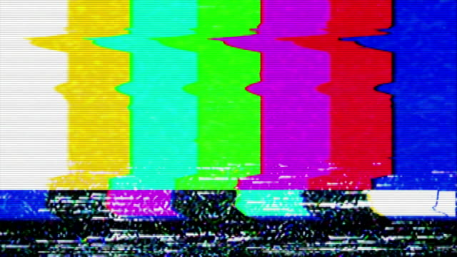 Color Bars Signal Interference A flickering, analog TV signal with bad interference, static, and color bars. Contains two options for audio, change half-way through. hd format stock videos & royalty-free footage