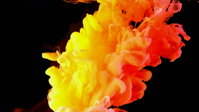 4K, Color drops in water, abstract color mix, drop of Ink color mix paint falling on water Colorful ink in water, 4K footage,