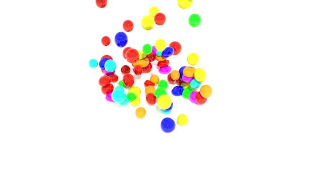 färg elastiska bollar faller på vit 4k - bingo bildbanksvideor och videomaterial från bakom kulisserna
