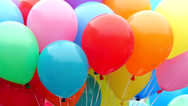 Color helium balloons. Festive balloons fastened together happy birthday stock videos & royalty-free footage