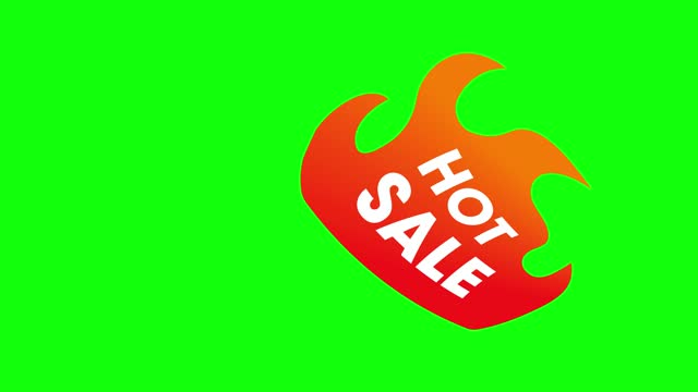 Color hot sale text icon fire flame flat promotion 10 animations green screen chroma key