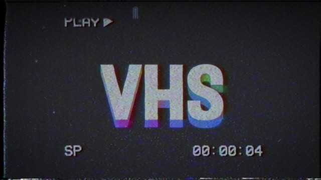 color kinetic animation of the word vhs. retro style 80s. the appearance and disappearance of a word. - analogiczny filmów i materiałów b-roll