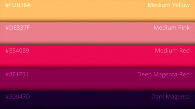 Color palette guide. Shades of colors on the pallet. Rgb the names of the colors video