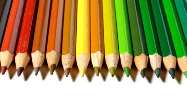 Color pencils isolated on white background video