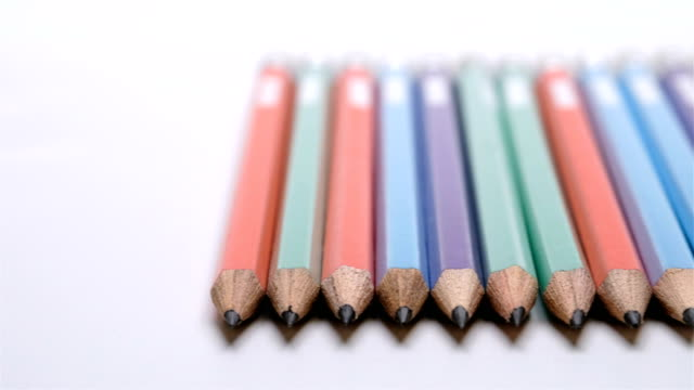 Color pencils on white background, Panning video video