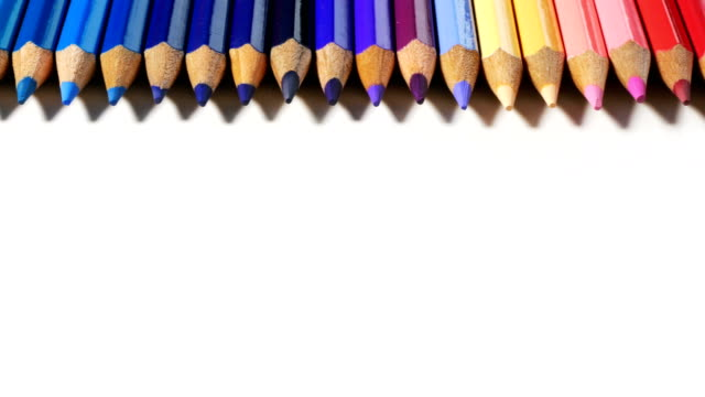 Color pencils on white background video