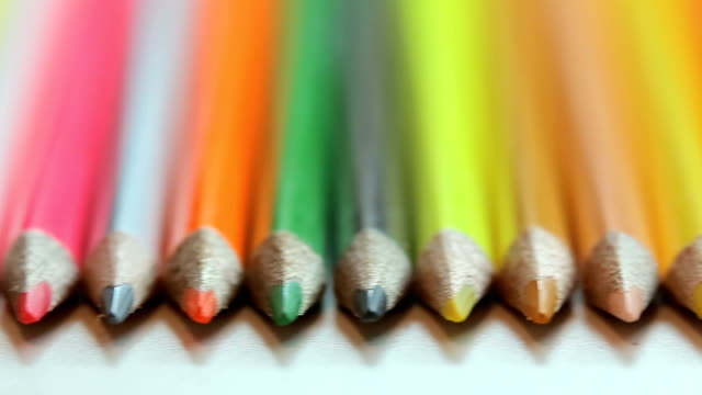 Color pencils on white table video