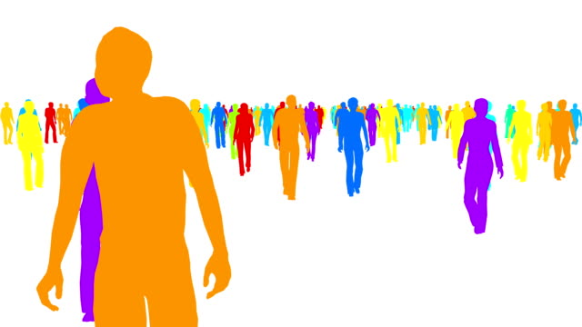color silhouettes crowd of people moves on white - city walking background video stock e b–roll