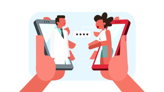 farbe stick figur zeichen frau patient beim mann arzt online-termin - flat design videos stock-videos und b-roll-filmmaterial