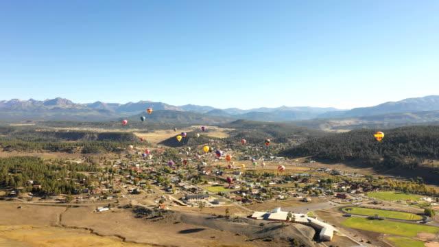 Colorado Hot Air Balloon Festival Against Clear Blue Sky video