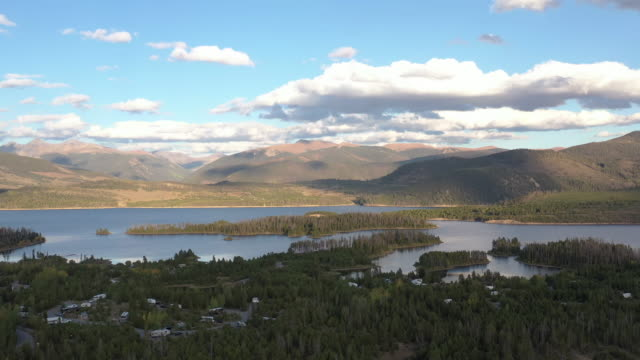 Colorado Lake, Mountains and Forest at Golden Hour Aerial Drone