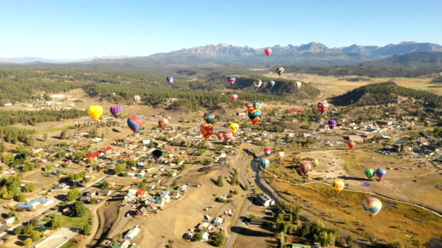Colorado Landscape with Hot Air Balloons Rising video