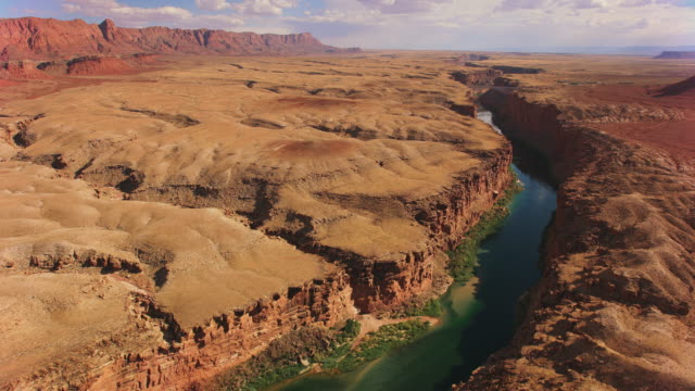 AERIAL Colorado River running its course surrounded by steep cliffs