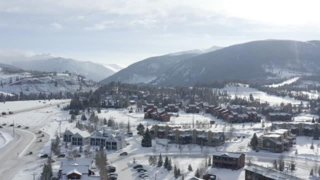 Colorado Rocky Mountains Snowy Winter Sun Day Aerial View Keystone