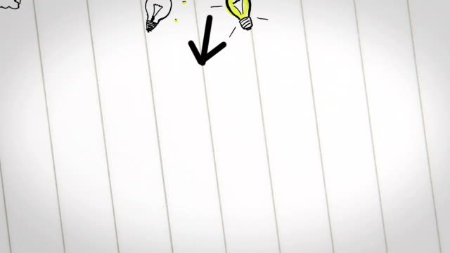 Colored animation of business plan drawn into notebook video