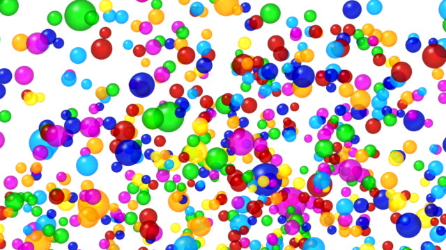 Colored bubbles  explosion. Alpha channel, 4K birthday background stock videos & royalty-free footage