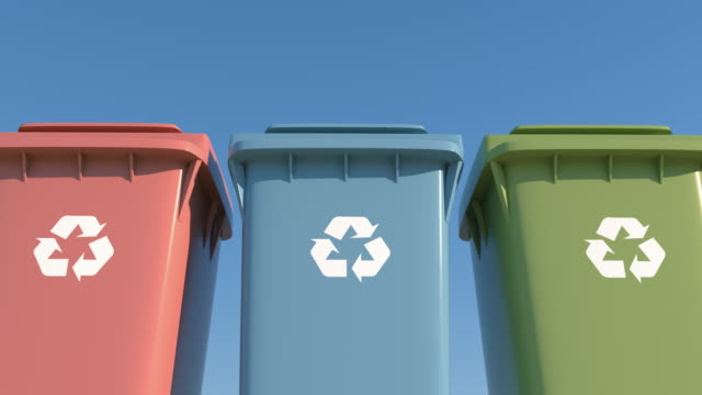 kolorowy pojemnik oddzielnych śmieci do ochrony środowiska - odzyskiwanie i przetwarzanie surowców wtórnych filmów i materiałów b-roll