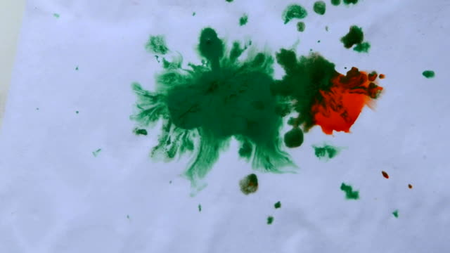 colored drops dripping on the white paper video