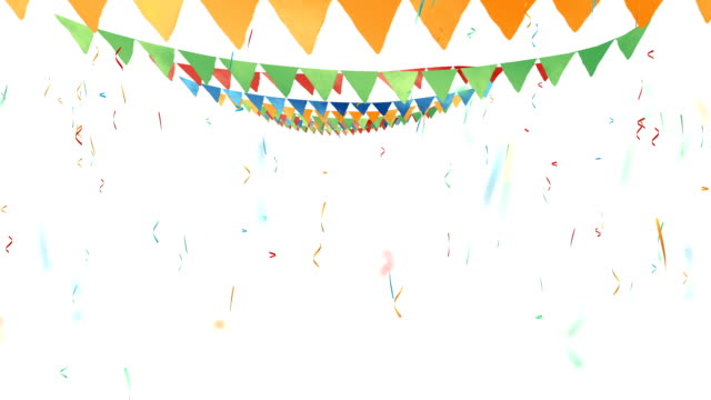Colored flags, triangular flags on rope Colored watercolor flags, triangular flags on rope. Falling colored confetti. carnival celebration event stock videos & royalty-free footage