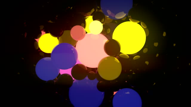 Colored glowing balls on black background. Digital animation 3d rendering. 4K, Ultra HD resolution