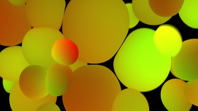 Colored glowing balls on black background. Digital animation 3d rendering
