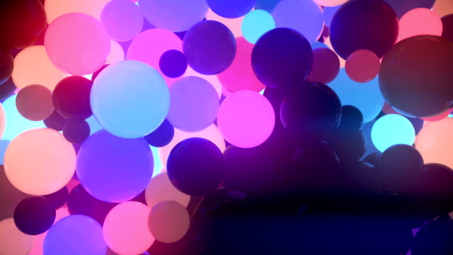colored glowing balls on black background. digital animation 3d rendering - tridimensionale video stock e b–roll