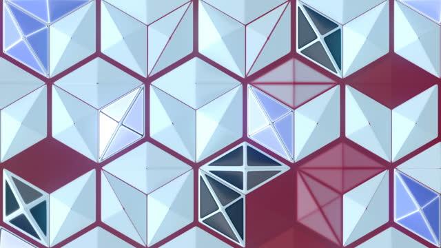 renkli altıgen sorunsuz döngü animasyon arka plan. 3d render geometrik sanat. hd çözünürlük - mozaik stok videoları ve detay görüntü çekimi