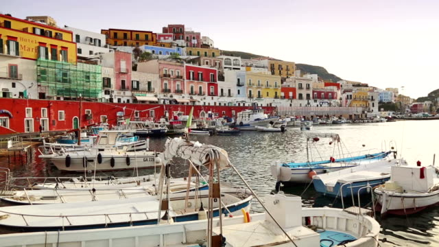Colored houses of Ponza, harbor in Tyrrhenian Sea video