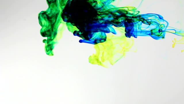 Colored ink cloud grows in water video