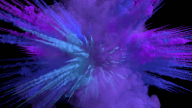 colored middle size smoke explosion with trails, expands towards the camera. - neve farinosa video stock e b–roll