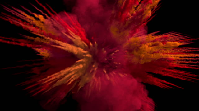 Colored middle size smoke explosion with trails, expands towards the camera.