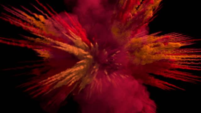 vídeos y material grabado en eventos de stock de explosión de humo de tamaño medio de color con senderos, se expande hacia la cámara. - molido