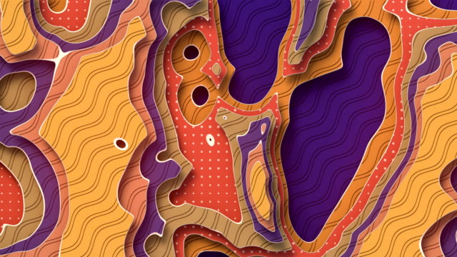 Colored multi layers animated paper background. Abstract papercut elegant wavy geometric motion footage. Seamless looping. 3d rendering video animation. 4K, Ultra HD resolution