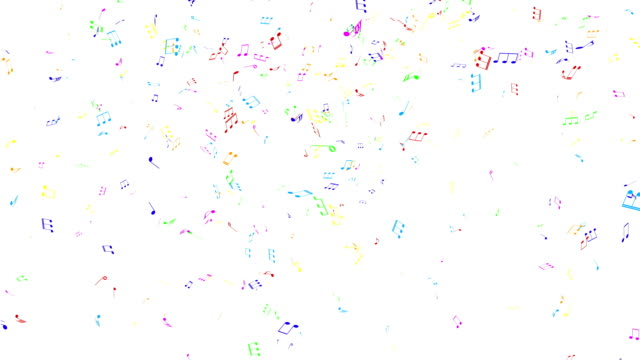 Colored musical notes flying.