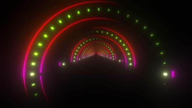 colored neon corridor - colore ciliegia video stock e b–roll