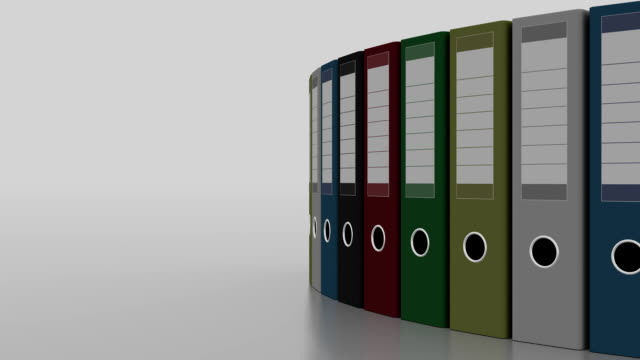 Colored office binders rotation. FullHD seamless loopable clip video