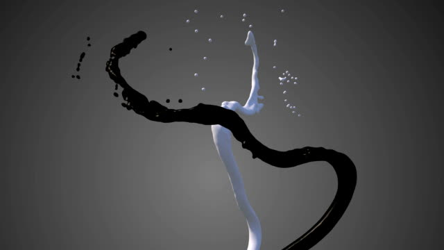 Colored paint streams with alpha channel Two streams of paint. Black and white. 3d abstract motion graphics. FullHD video. the four elements stock videos & royalty-free footage